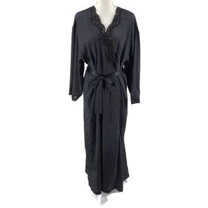 Victoria's Secret Black Long Robe Lace Sequins M/L